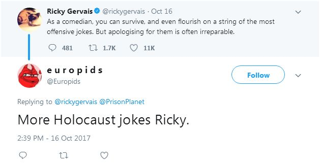 171123 gervais fan more H jokes